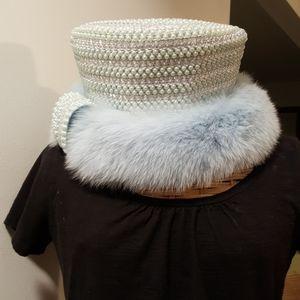 Custom Made Blue Mink Hat by Sandra Kay